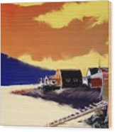 Newfoundland Fishing Shacks Wood Print
