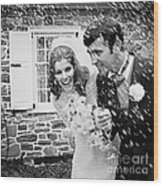 Newlyweds Showered With Rice, C.1960-70s Wood Print