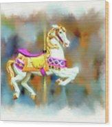 Newport Beach Carousel Horse Wood Print