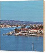 Newport Beach Harbor At Dusk Wood Print