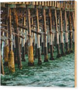 Newport Beach Pier Close Up Wood Print