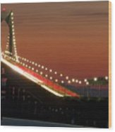 Newport Bridge Twilight Wood Print