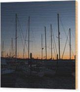 Newport Harbor Rhode Island Boats At Sunset Wood Print