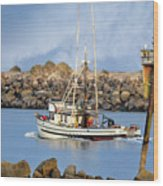 Newport Oregon - Coastal Fishing Wood Print