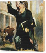 Newsboy Shouting, 1847 Wood Print