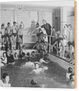 Newsboys Swimming 1900s Wood Print