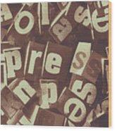 Newsprint Journalism Wood Print