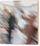Newstand Blur Wood Print