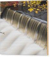 Newton Upper Falls Autumn Waterfall Wood Print