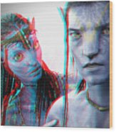Neytiri And Jake Sully - Use Red-cyan 3d Glasses Wood Print