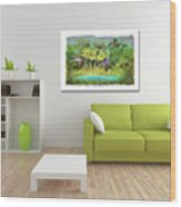 Home Decor With Tropical Palms Digital Painting Wood Print