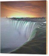 Niagara Falls By Night Wood Print by Insight Imaging