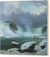 Niagara Falls Wood Print by Hippolyte Victor Valentin Sebron