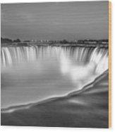 Niagara Falls In Black And White  Wood Print