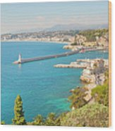Nice Coastline And Harbour, France Wood Print by John Harper