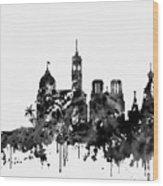 Nice Skyline-black Wood Print