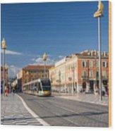 Nice Tramway At Place Massena Wood Print