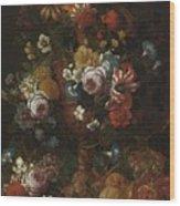 Nicolaes Van Veerendael Antwerp 1640 - 1691 Still Life Of Roses, Carnations And Other Flowers Wood Print