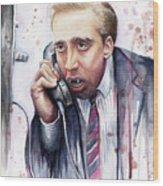 Nicolas Cage A Vampire's Kiss Watercolor Art Wood Print by Olga Shvartsur