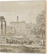 Nicolas-didier Boguet   1755 - 1839   View Of The Roman Forum With The Temple Of Castor Wood Print