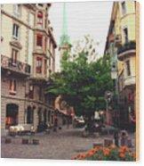 Niederdorf Square In Zurich Switzerland Wood Print