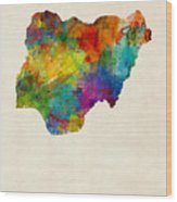 Nigeria Watercolor Map Wood Print