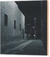 Night Alley To Main Street Wood Print