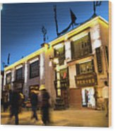 Night At Jokhang Temple Lhasa Kora Tibet Artmif.lv Wood Print