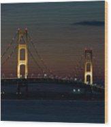 Night At Mackinac Bridge Wood Print