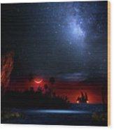 Night At Pirate's Lagoon Wood Print