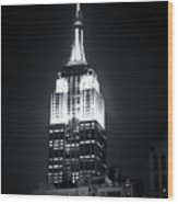 Night At The Empire State Building Wood Print