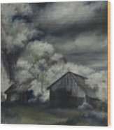 Night Barn Wood Print