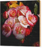 Night Begonias Three Wood Print