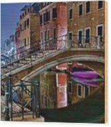 Night Bridge In Venice Wood Print