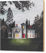 Italian House Country House Detail From Night Bridge  Wood Print