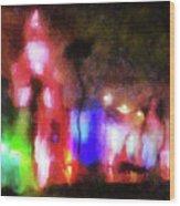 Night City Lights Wood Print