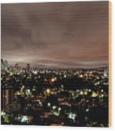 Night Cityscape Wood Print by People are strange by Patricia Kroger