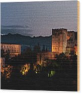 Night Comes To The Alhambra Wood Print