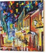 Night Etude - Palette Knife Oil Painting On Canvas By Leonid Afremov Wood Print