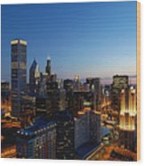 Night Falls On Chicago - D001087 Wood Print