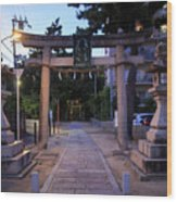 Night Falls On Esaka Shrine Wood Print
