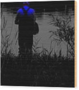Night Fisherman Wood Print