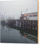 Night Fog Along The Dock Wood Print by Bob Orsillo