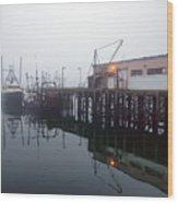 Night Fog Along The Dock Wood Print