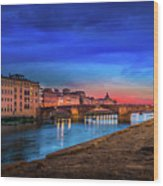 Night In Florence Italy Wood Print