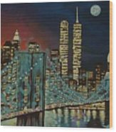 Night In Manhattan Wood Print