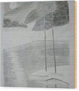 Night Lake.black Pencil 1990 Wood Print