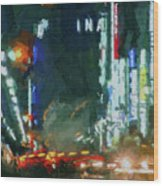 Night Lights City Wood Print