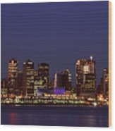 Night Lights Of Downtown Vancouver Wood Print
