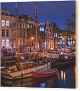 Night Lights On The Amsterdam Canals 7. Holland Wood Print